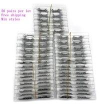 Mikiwi wholesale 50 pairs/pack 3D Mink Lashes No packaging Full Strip Lashes Mink False Eyelashes custom box Makeup eyelashes