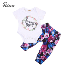 0-18M Cute Newborn Baby Girl Floral Clothes Set Short Sleeve Bodysuit Tops+Flower Pant Legging Outfit 2PCS Toddler Kids Clothing