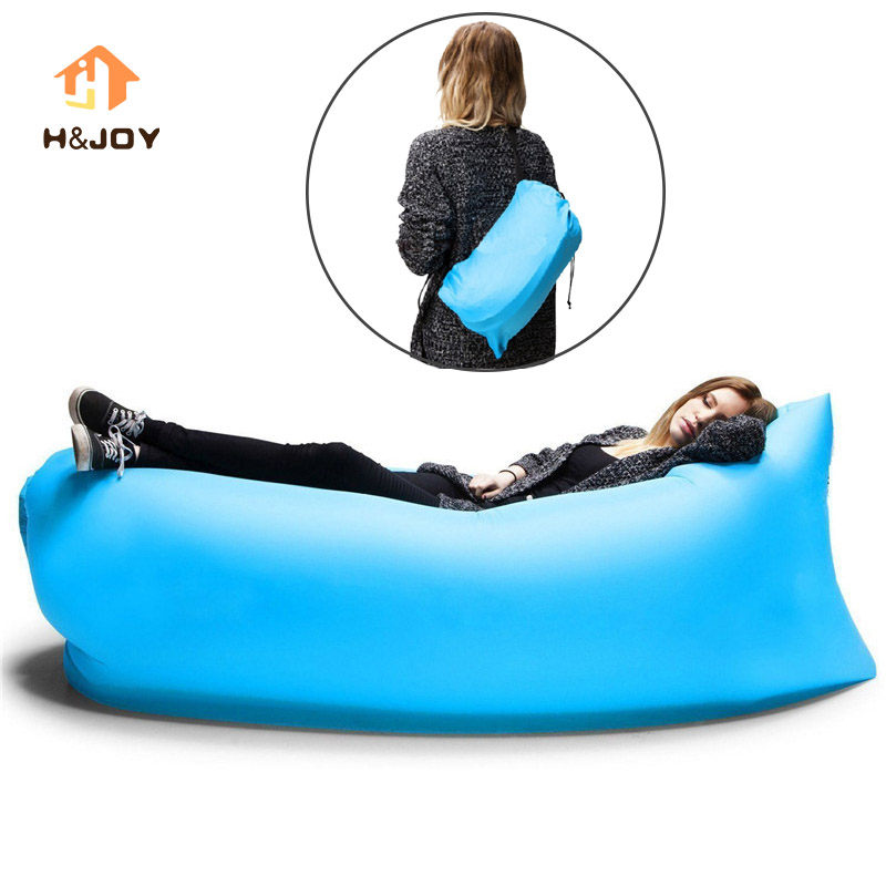 Lazy Fast Inflatable Sofa Camping Outdoor Air Sleep Sofa Banana Shape Beach Lay Bag Couch Portable Big Living Room Bed Sofa