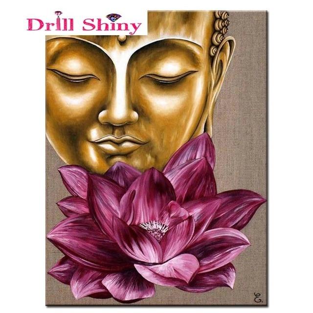 Diy Diamond painting cross stitch diamond mosaic Buddha lotus pattern rhinestones  diamond embroidery picture diamante 3044617c14d4