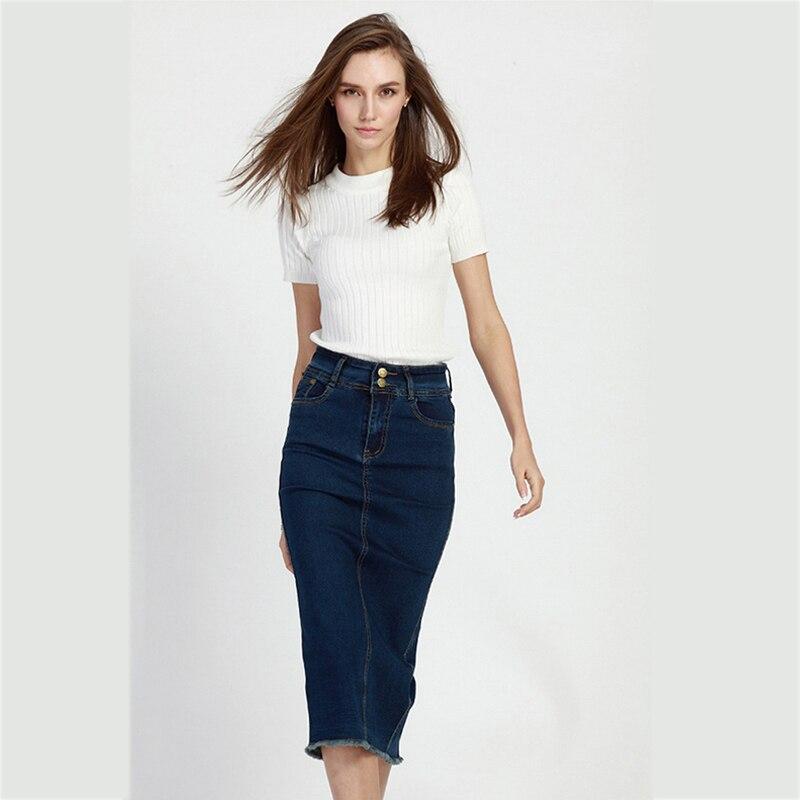 Fashion Women Skirt 2016 Denim Skirt Fashion High Waist Slim Elegant A Lline Jean Skirts With ...