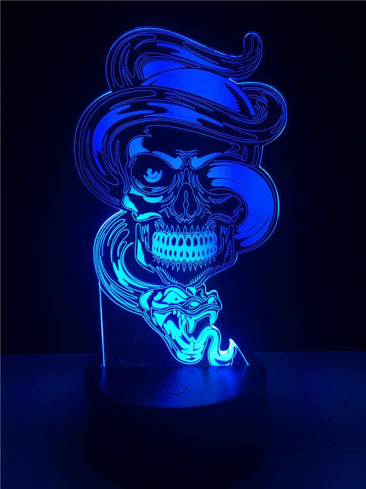 Halloween Crânio Dominador Dragão 7 Alterar Cor Atmosfera Night Light Table Desk Quarto Home Decor Para Crianças Crianças Brinquedos Presente de Natal