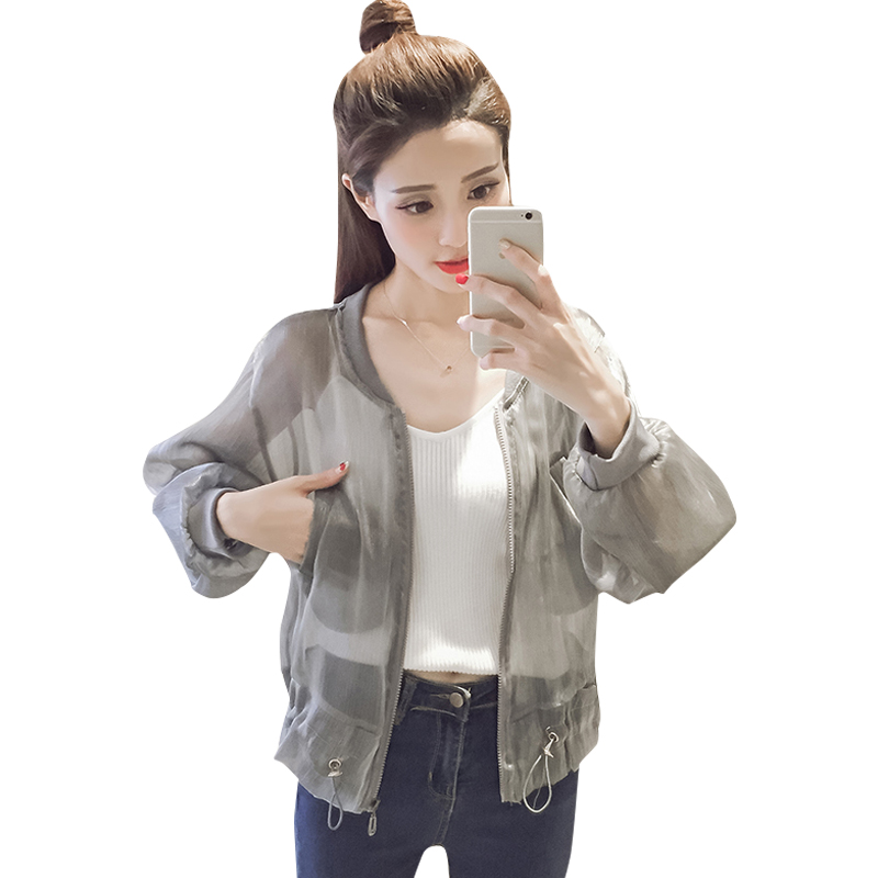 Coats Bomber-Jacket Mesh Drawstring Korean Outwear Streetwear-Tops Women Ladies Summer