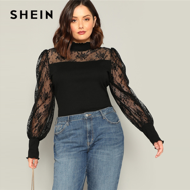 2cc2c275 SHEIN Plus Size Black Mesh Puff Long Sleeve Stand Collar Women Casual T  Shirt 2019 Spring Elegant Solid Tops Tee