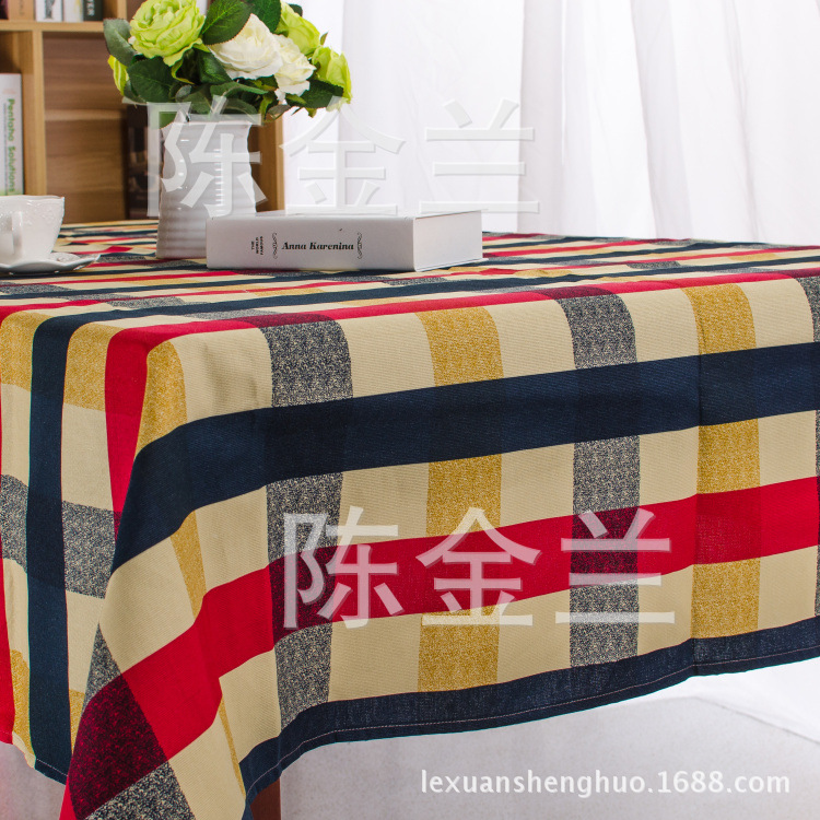 Cotton Printed Modern Plaid Knitted Tablecloth for Restaurant Home Outdoor Hotel Party Table Cloth