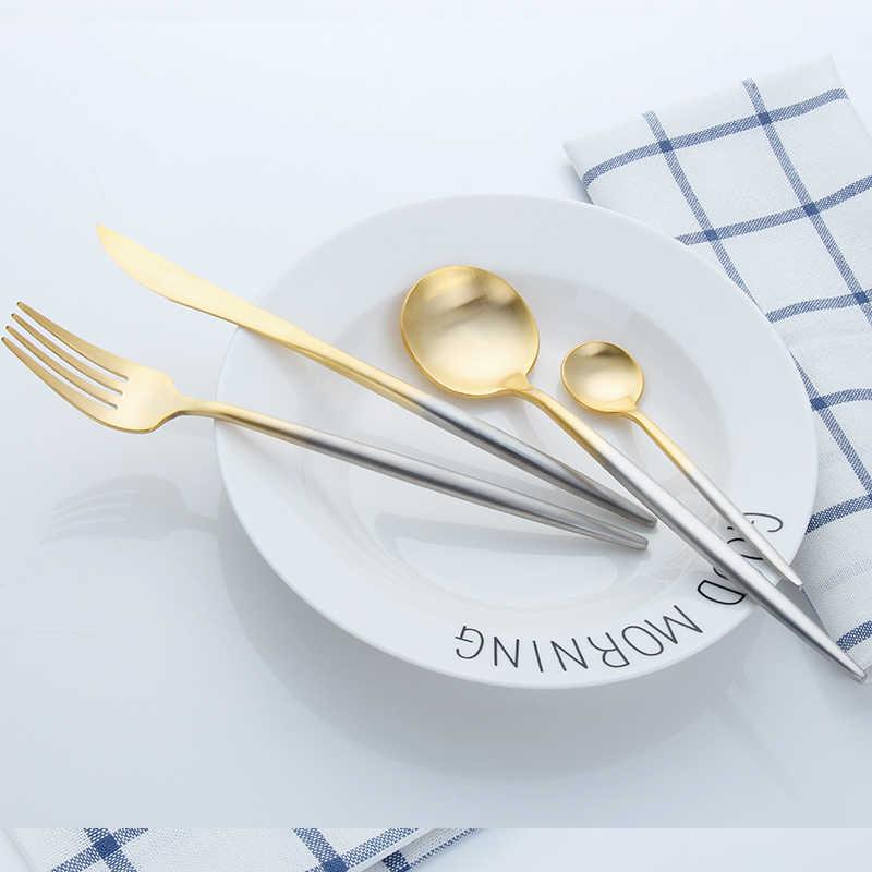 ส้อมมีดช้อนอาหารค่ำสีดำชุดช้อนส้อมช้อนส้อม Western ห้องครัวอาหารเย็นสแตนเลส Home ชุดชุด