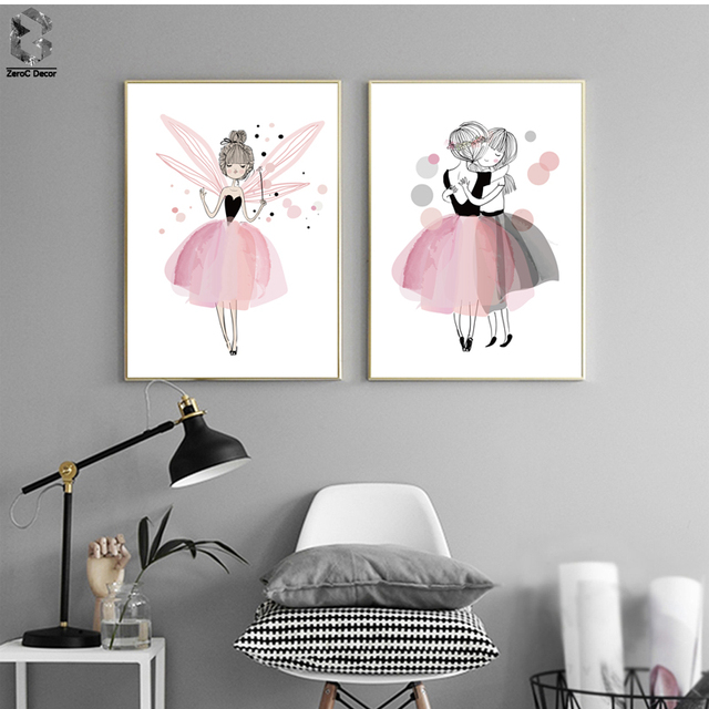 meninas aquarela canvas art print poster decora o do quarto parede pictures flamingo cor de. Black Bedroom Furniture Sets. Home Design Ideas