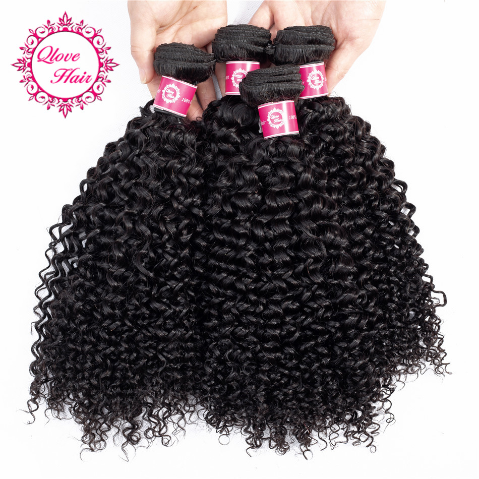QLove Hair Pre-Colored 4 Bundles Kinky Curly Hair Weave India Bundles In Extension Hair Natural Color Non Remy Hair