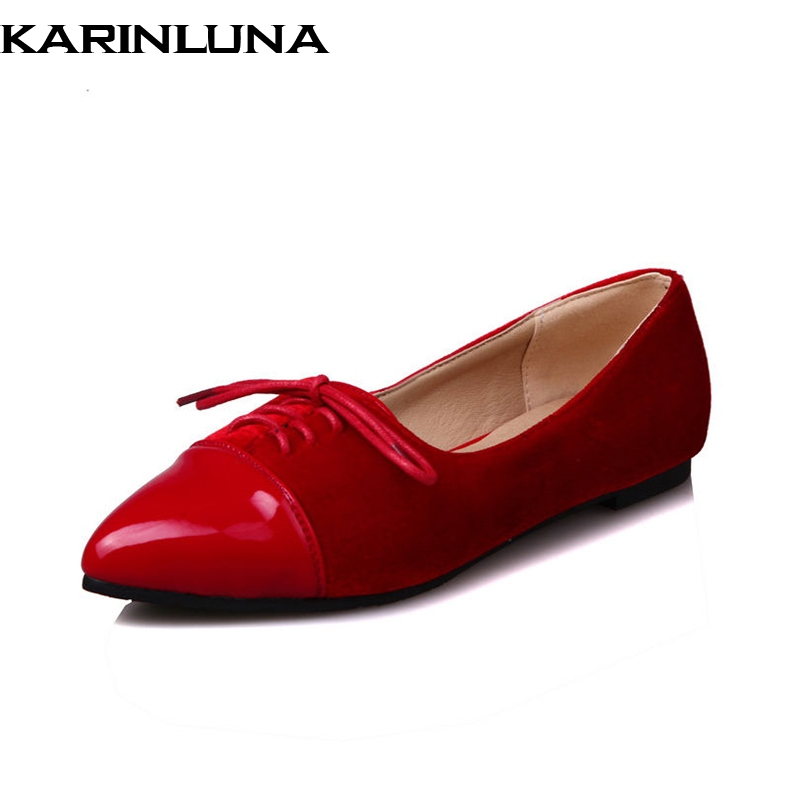 KARINLUNA 2018 Spring Autumn Hot Sale Shallow Flats Women lace-up Patchwork Shallow Shoes Woman Big Size 34-43 Casual Shoes hot sale spring autumn handmade flats