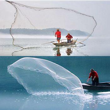 Bait Cast Net | 14Ft 4.2M Fishing Net Bait Easy Throw Hand Cast Strong Nylon Mesh Sinker                                                      #8