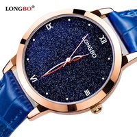 Newest LONGBO Female Watches Women Starry Sky Luxury Leather Strap Ladies Quartz Waterproof Watch Fashion Girl