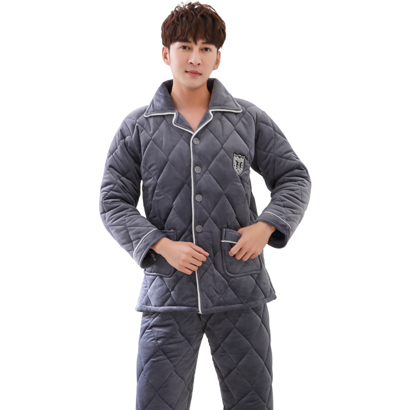 High Quality Three Winter Thick Quilted Pajamas Men's Cotton Flannel Long-sleeved Jacket Winter Home Service Men Pyjamas M-3XL
