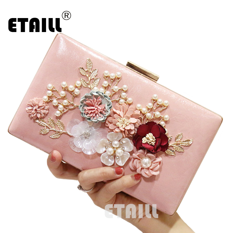 ETAILL Crystal Clutch Evening Bag White Black Flower Party Purse Women Wedding Bridal Phone Handbag Pouch Pearl Soiree Pochette luxury crystal clutch evening bag golden party purse women wedding bridal handbag pouch soiree pochette for ladies white black
