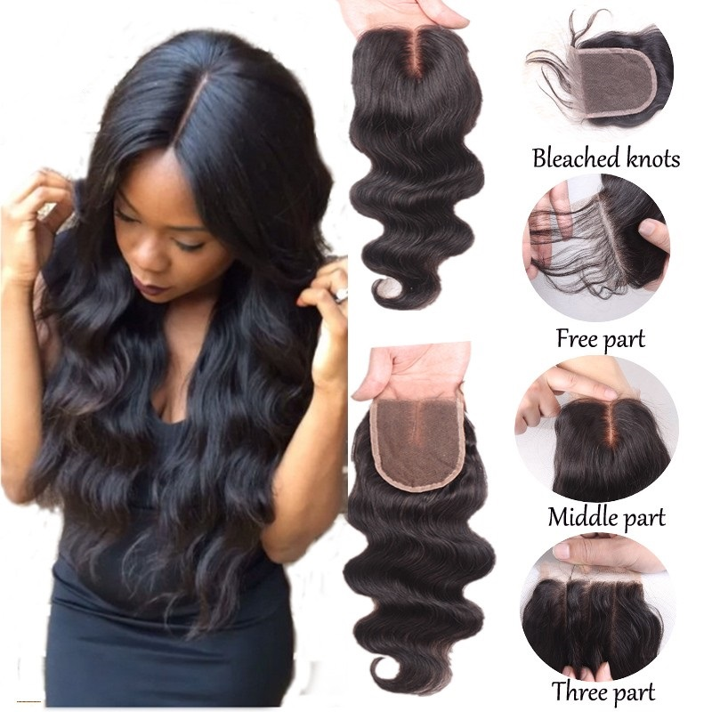 Brazilian Body Wave Lace Closure Free Part 100% Human Hair Top Lace Closure 8-20 With Baby Hair 4*4 Lace Closure For Women