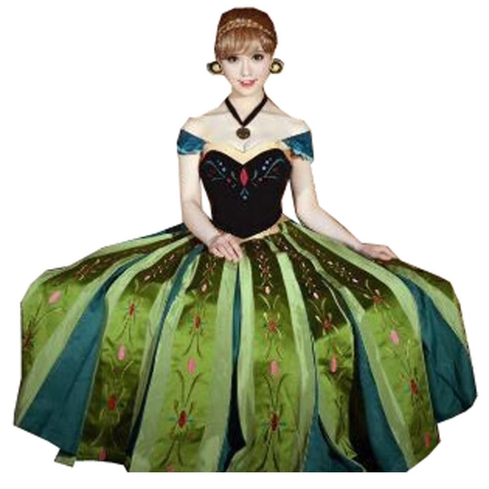2018 Anna Coronation Dress Princess Anna Costumes Outfit Anna Cosplay Dress