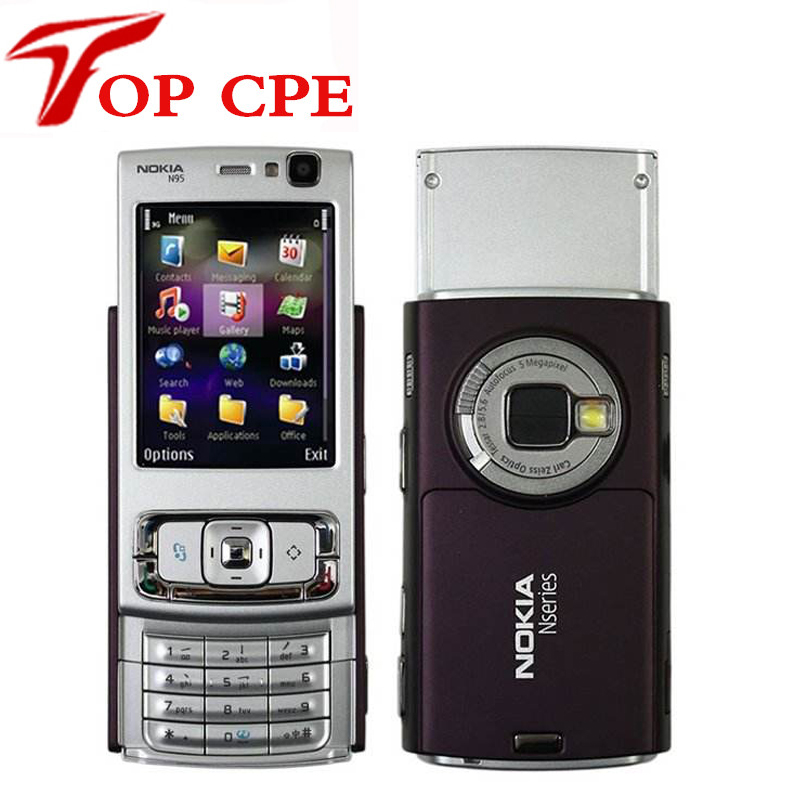 N95 Original Nokia N95 WIFI GPS 5MP 2.6''Screen WIFI 3G Unlocked Refurbished Mobile Phone FREE SHIPPING 1 Year Warranty In Stock(China)