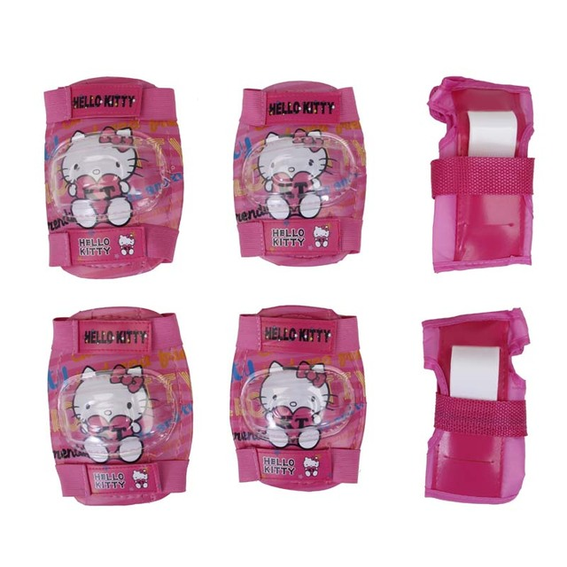 32844edc4 Hello Kitty Girl Skating Cycling Roller Skating Protection Kids Knee Elbow  Wrist Protective knee Pads Sport