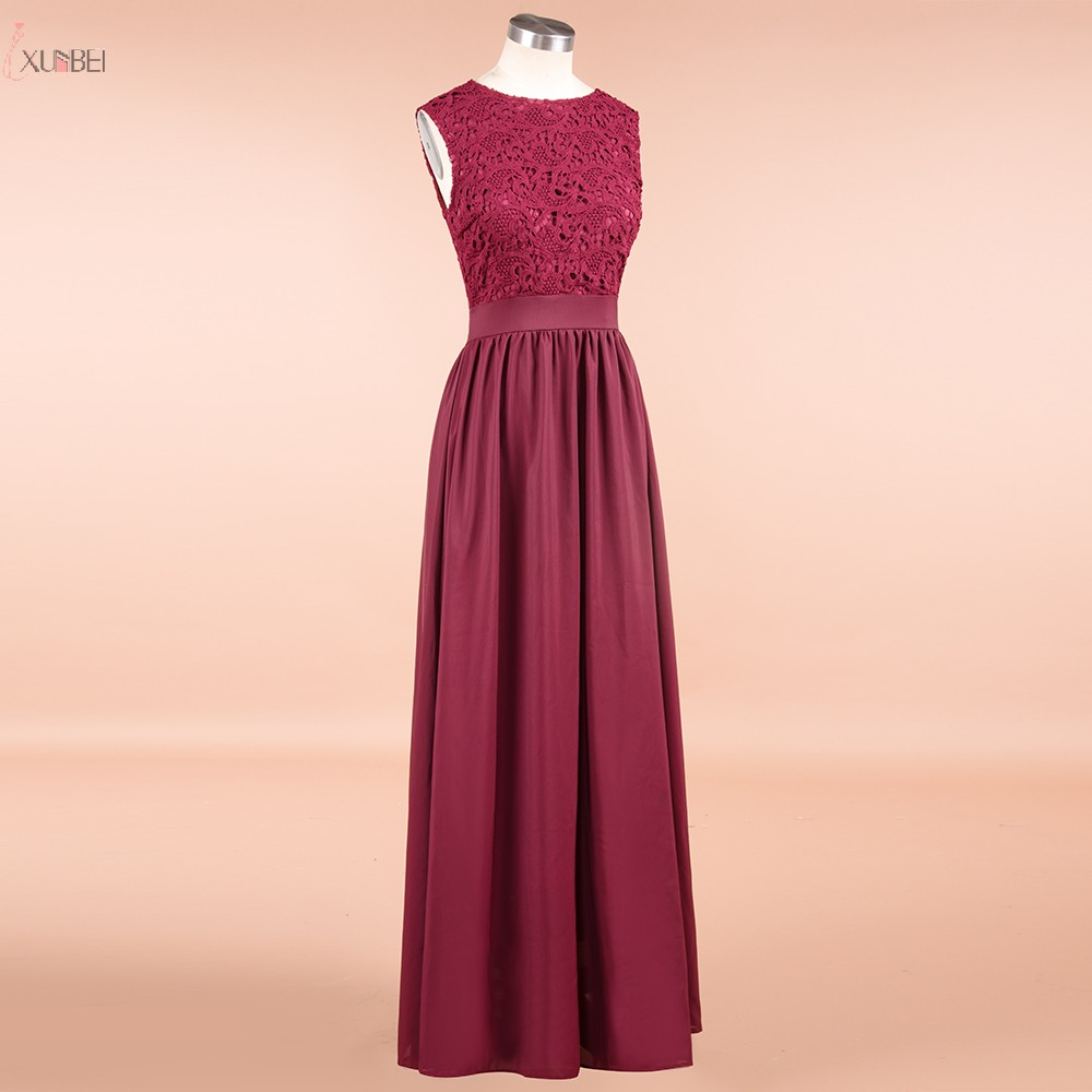 Burgundy Chiffon Long Bridesmaid Dresses 2019 Applique Wedding Guest Party Gown Scoop Neck Sleeveless Vestido Madrinha