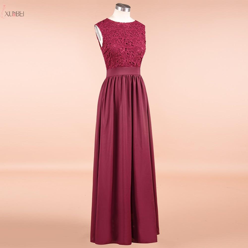 Burgundy Chiffon Long Bridesmaid Dresses 2019 Applique Wedding Guest Party Gown Scoop Neck Sleeveless Vestido Madrinha