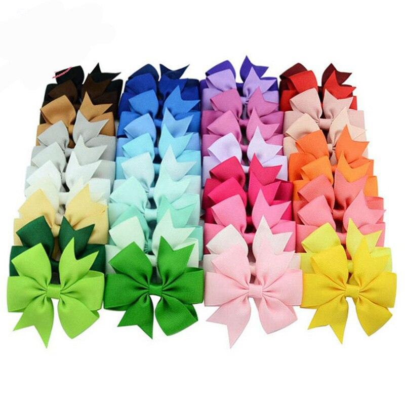 BNWIGE 40pcs/set Fashion Colors Grosgrain Ribbon Bow Hair Clip Boutique Handmade Hairgrip Bows Hairpin Girl Gift Hair Accessorie