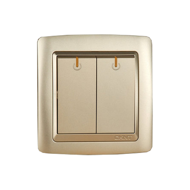 CHINT NEW2K Wall Outlet Switch Light Champagne Gold Modern Switches Two Gang Multiple Control