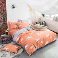 Brief White Flowers Orange Bedlinens Queen King Full Size Duvet Cover Sets Cotton Fabric Cartoon Customized