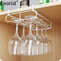 Eworld Creative Iron Spray Painting Double Row Cup Hanging Holder Goblet Red Wine Glass Kitchen Storage Hanging Frame Rack Hooks