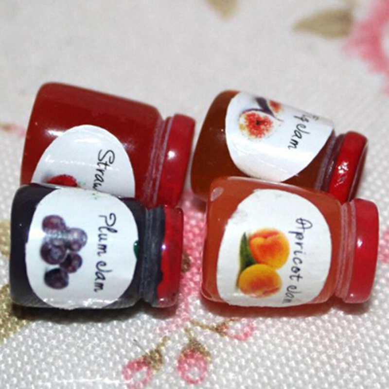 1 Bottles Jams Dollhouse Miniatures 1:12 Accessories Jams Miniature Kitchen Doll House Kitchen Diy Dollhouse Food