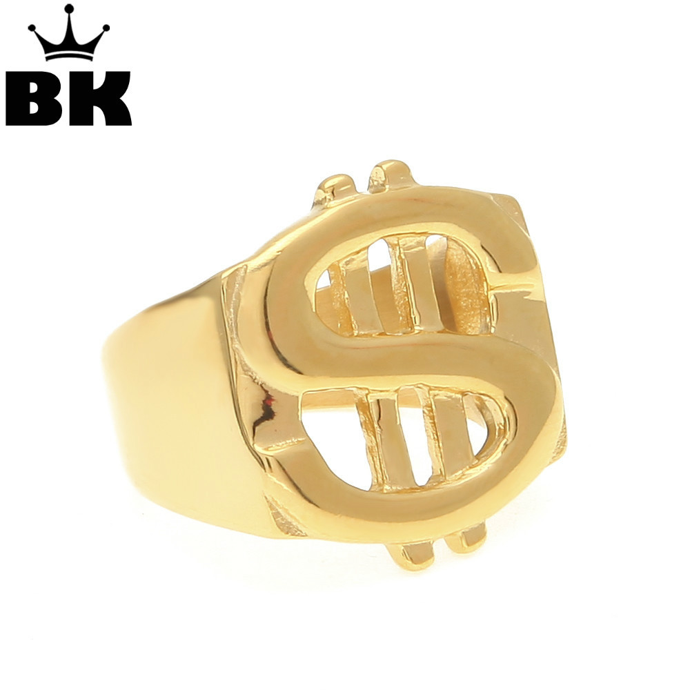 US Dollar Sign Ring Street Style Gold Color Size 9/10/11/12 Stainless Steel Hip Hop Ring For Rappers/Men Jewelry