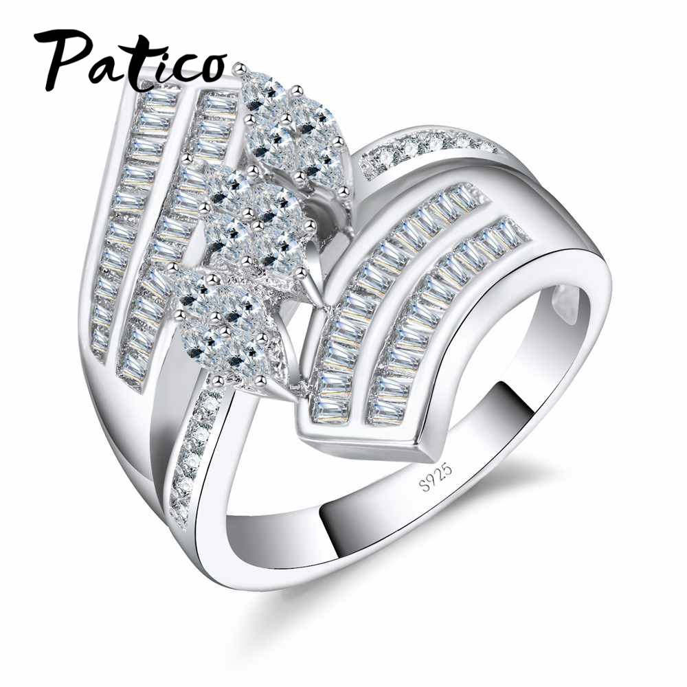 PATICO Big Size 925 Sterling Silver Rings For Ladies Mirco AAA CZ Irregular Finger Rings Birthday Stone Jewelry Gifts Big Sizes