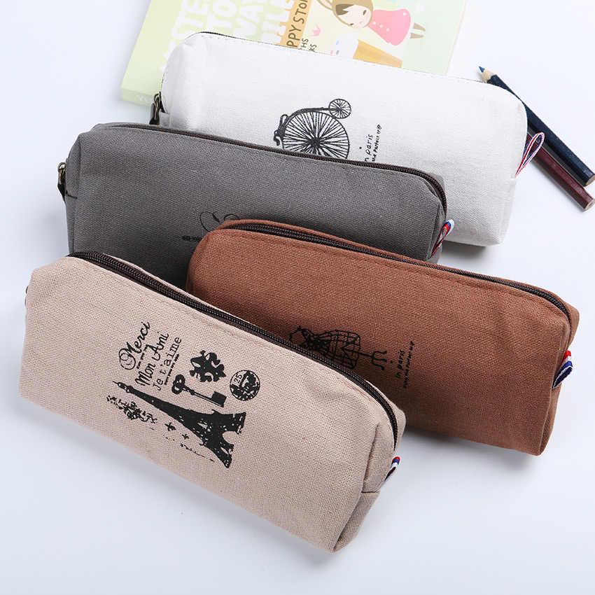 1PC Fashion Retro Linen Pencil Bag Paris Style Stationery Storage Bag Office School Supplies 4 Color Available