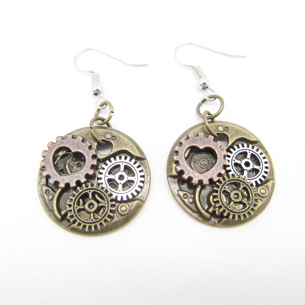2018 New Collection Vintage Colored Small Gears Mechanism DIY Steampunk  Women`s Drop Earrings