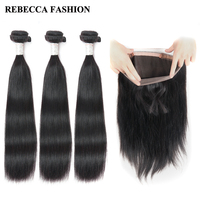 Rebecca Brazilian Straight Hair 3 Bundles With Frontal Remy Human Hair Bundles 360 Lace Frontal For