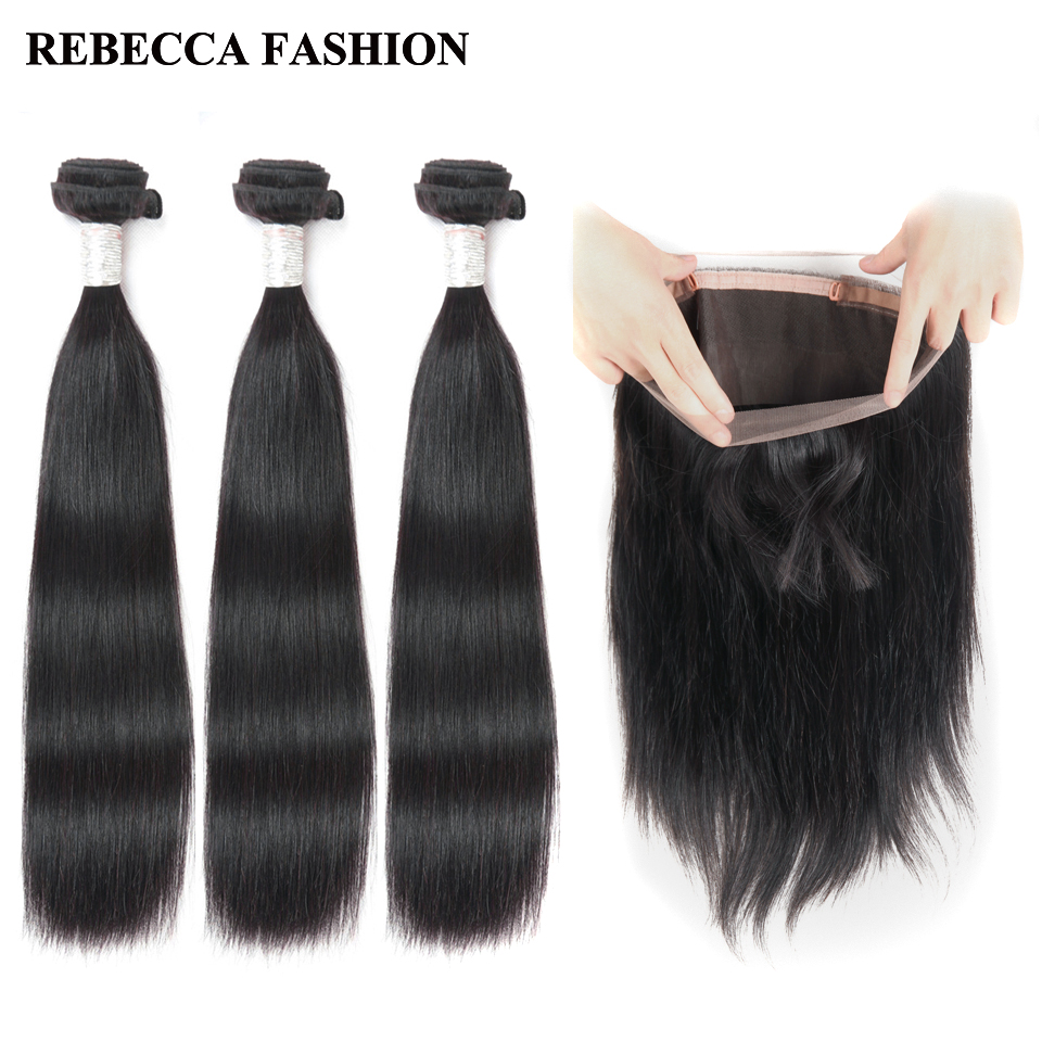 Rebecca Brazilian Straight Hair 3 Bundles With 360 Frontal Remy Human Hair 360 Lace Frontal With
