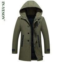 Yeni Rusya Kış Ceketler Mens Marka Katı Kalın Sıcak Uzun Aşağı ceket Erkekler Ordu Termal 90% Beyaz Ördek Aşağı Palto-40 derece