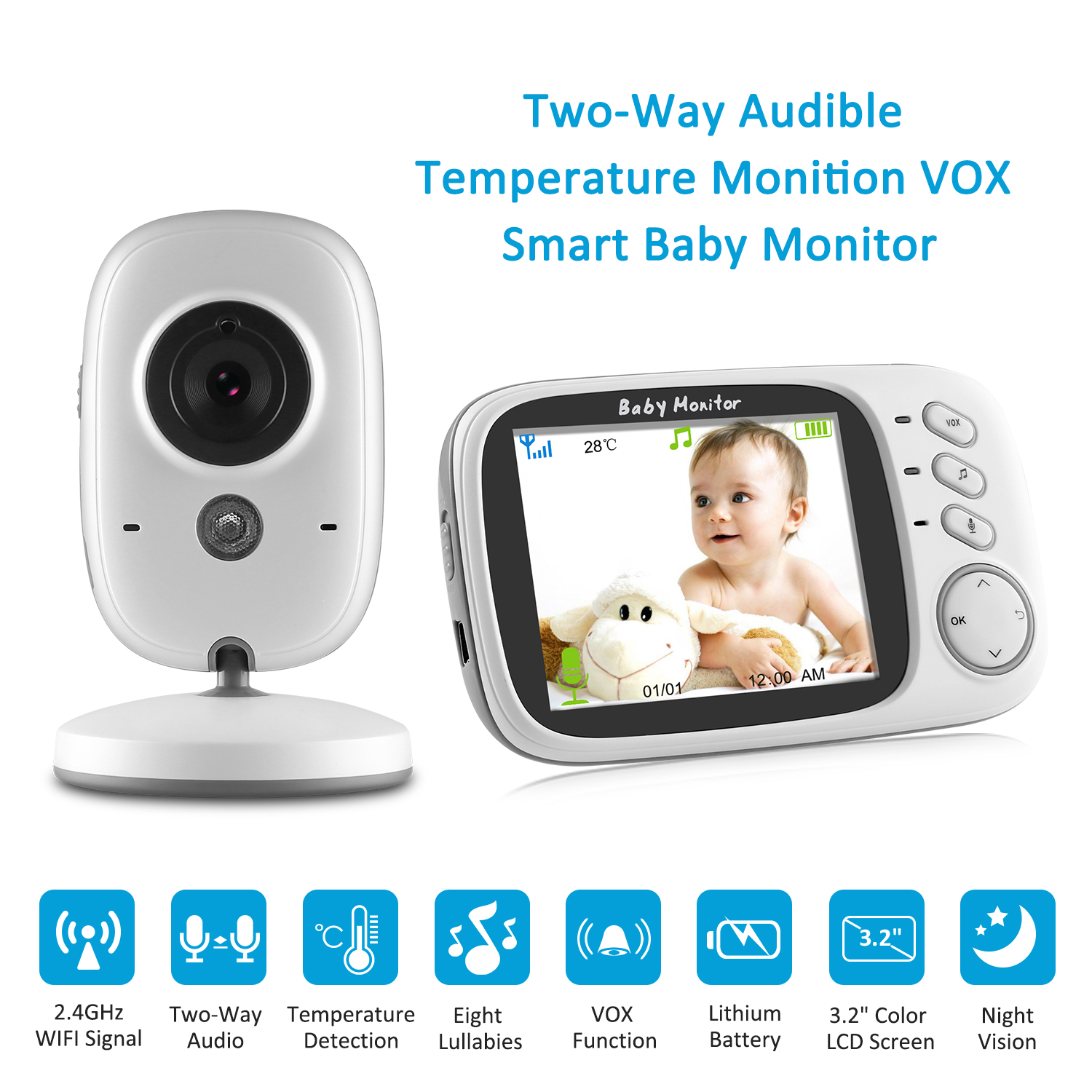 Image 2 - SANNCE Home Security Baby Monitor 3.2inch Displayer Night Vision Camera Wireless Mini Camera Surveillance Night Vision Camera-in Baby Monitors from Security & Protection