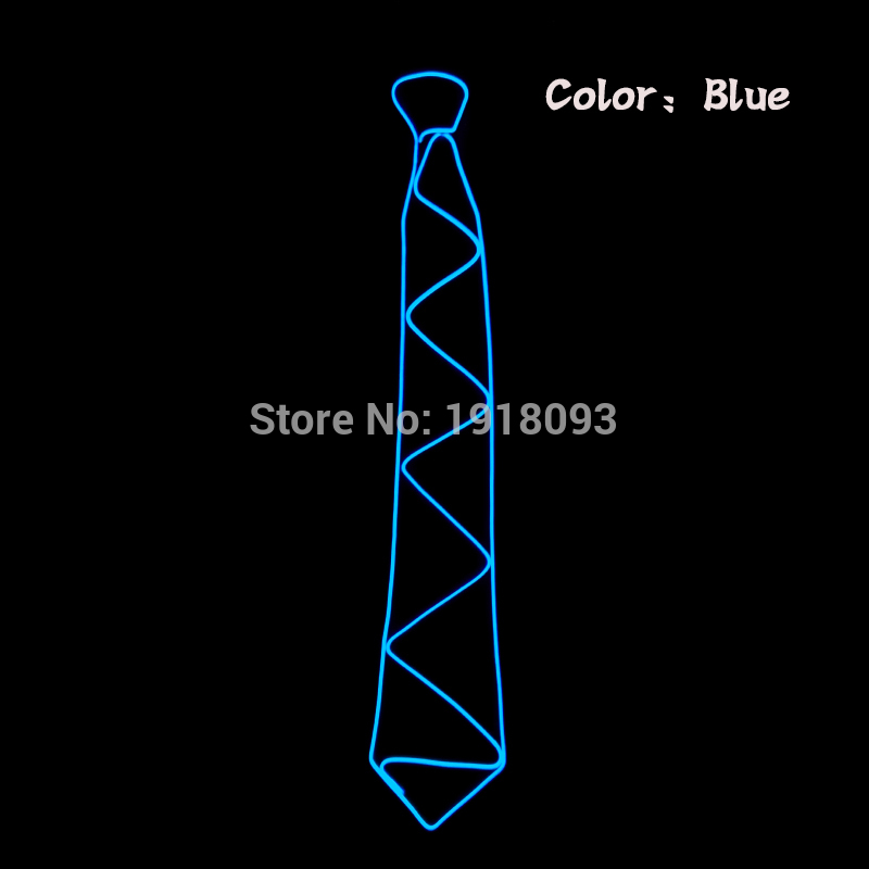 10 Colors New Type Sound Activated Lighting Novelty Lighting LED Neck Tie Glowing EL Wire Tie Adult For Festival,bar,club,Party