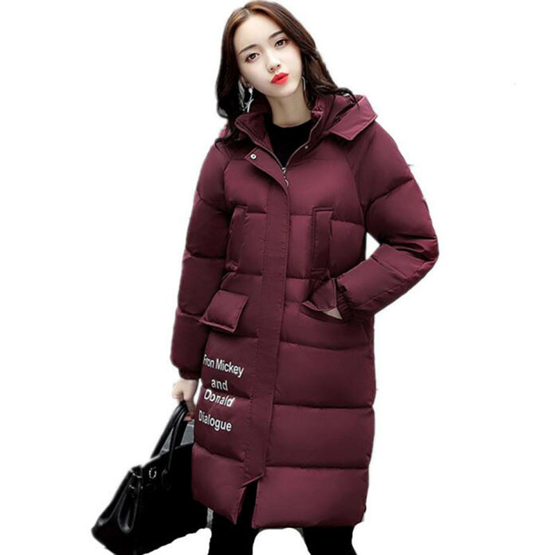 Maxi Coats Winter Jacket Women Hooded Letter Bread Cotton Coat Thick Long Parka Abrigo Mujer Wadded Padded Jackets Outwear womens coats and jackets thick fur collar winter jacket women hooded cotton wadded jacket parka female outwear maxi coats c3708