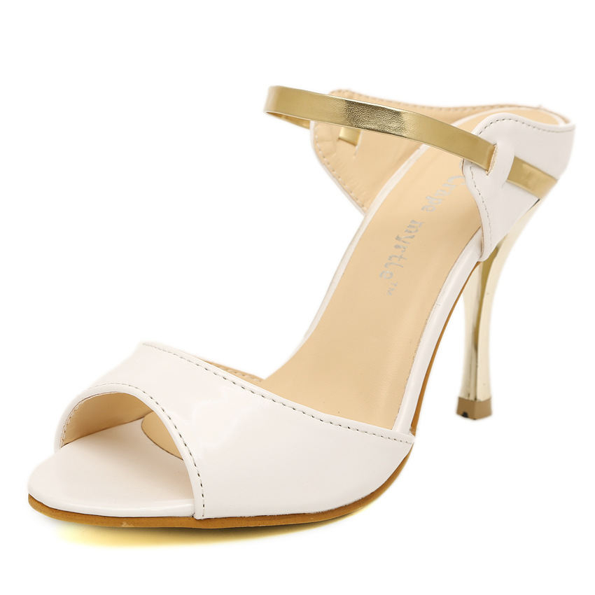 LAKESHI Summer Women Pumps Small Heels Wedding Shoes Gold Silver Stiletto High Heels Peep Toe Women Heel Sandals Ladies Shoes 8