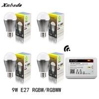 Mi Light Led Lamp E27 9W RGBW/RGBWW Led bulb+IBX2 RF Remote Wifi Led Spotlight light Dimmable Led light AC85 265V Free shipping