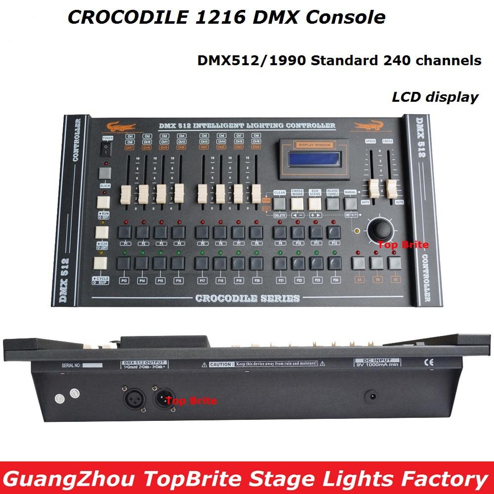 2017 Factory Price CROCODILE 1216 Professional DMX Lighting Controller DMX 512 240 Channels For Led Par Light Moving Head Lights dmx512 digital display 24ch dmx address controller dc5v 24v each ch max 3a 8 groups rgb controller