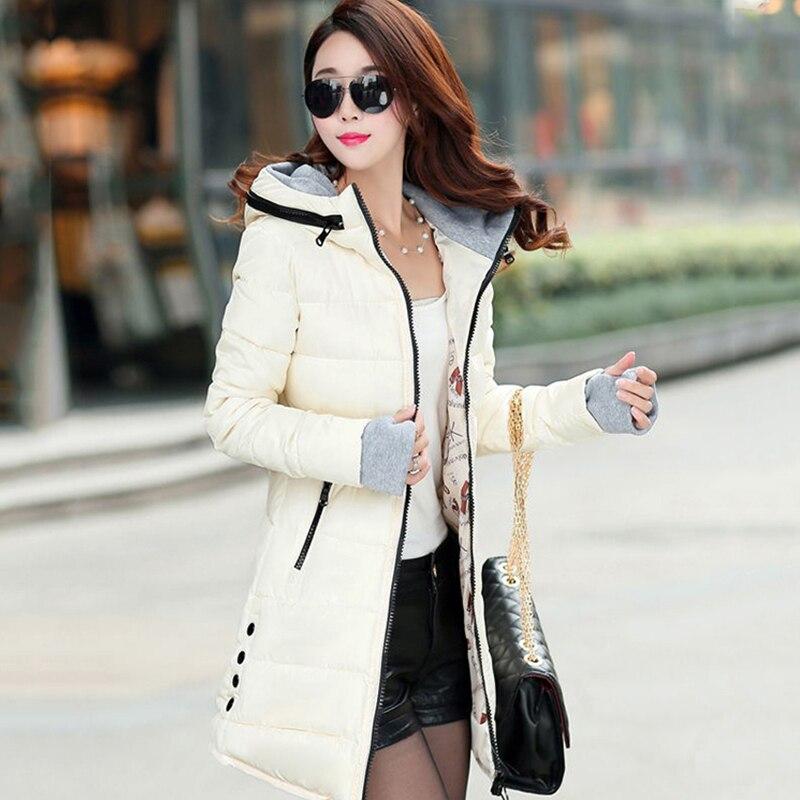 2018 women winter hooded warm coat slim plus size candy color cotton padded basic jacket female medium-long  jaqueta feminina 3