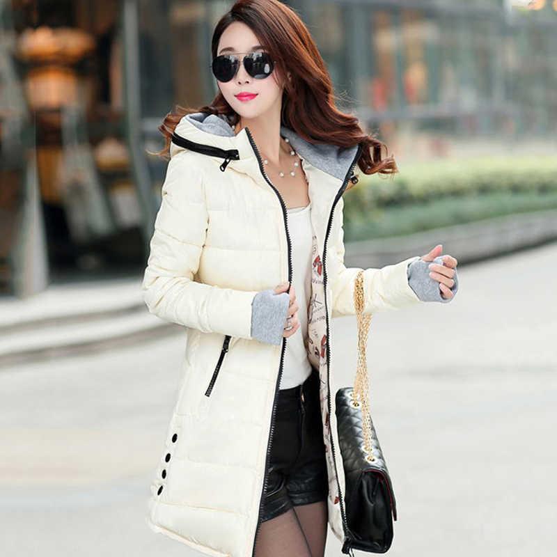 2019 frauen winter mit kapuze warmen mantel schlank plus größe candy farbe baumwolle gepolstert grundlegende jacke weibliche mittel-lange jaqueta feminina