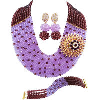 Fashion Dark Purple Lilac Nigerian Wedding African Beads Jewelry Set Crystal Necklace Sets 10SZ16