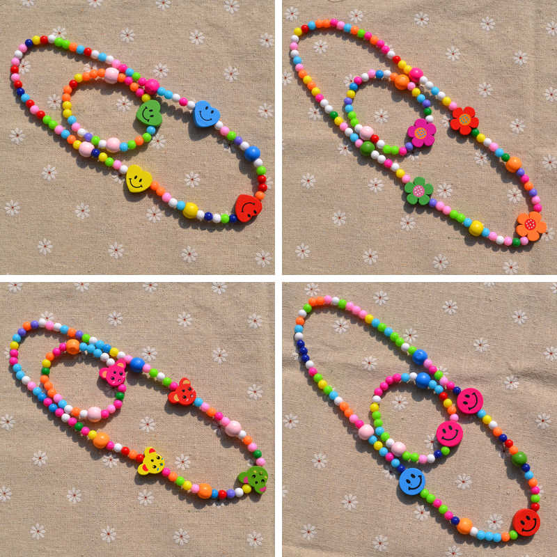 New Style Cute Children Gifts Cartoon Girls Jewelry sets Mix Color Acrylic Beads Include Necklace And Bracelet