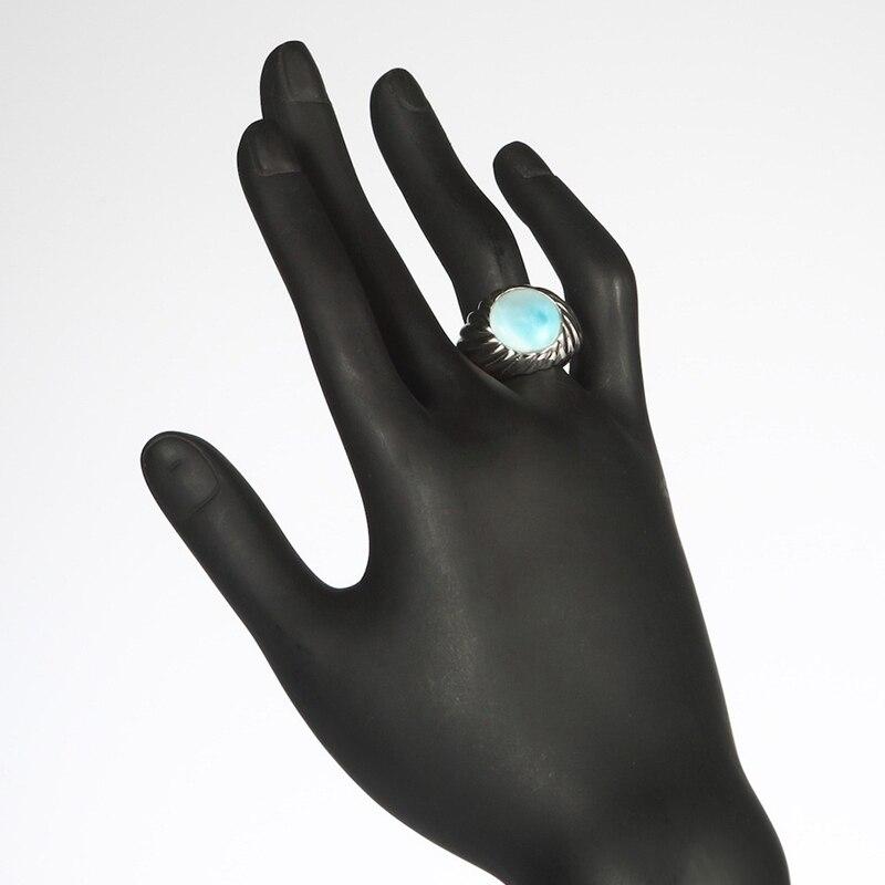 Eulonvan luxe Larimar pierre naturelle fiançailles bagues de mariage bijoux pour femmes 925 en argent sterling belle S-3802 taille 6 7 8 9 - 5