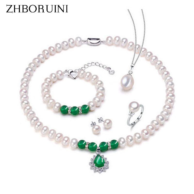 ZHBORUINI Fashion Necklace Pearl Jewelry Set Natural Freshwater Pearl 925 Sterling Silver Necklace Bracelet Earrings For