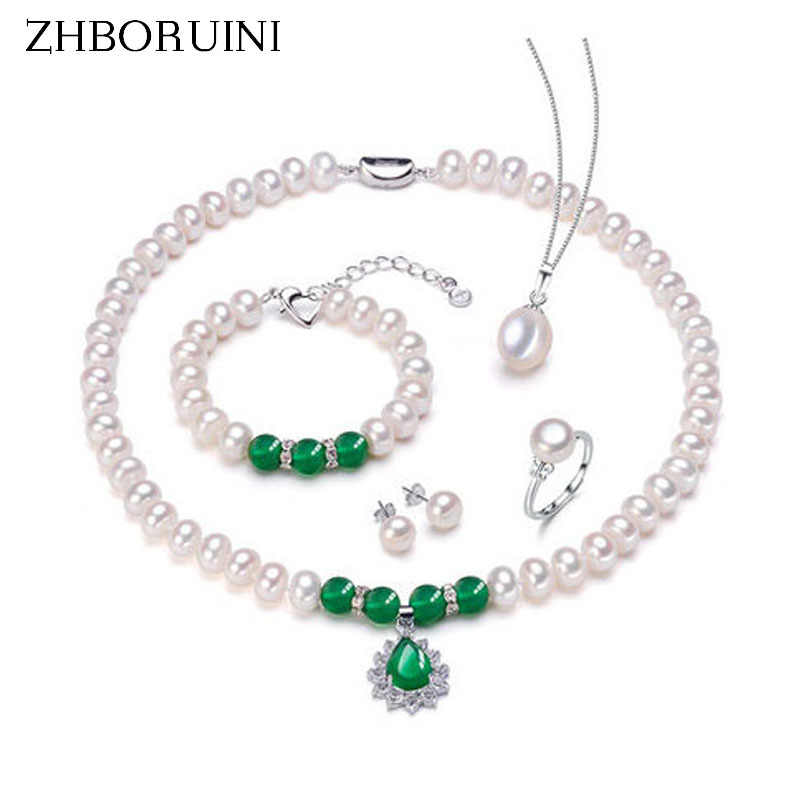 ZHBORUINI Fashion Necklace Pearl Jewelry Set Natural Freshwater Pearl 925 Sterling Silver Necklace Bracelet Earrings For Women