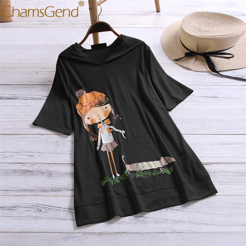 LITTLE GIRL WALKING THE DOG Cartoon Print Women Hooded   Blouse     Shirts   Plus Size Loose   shirt   M/XL/2XL/3XL/4XL/5XL 90417