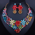 2016 Hot Sale Gold plated Jewelry Set FARLENA Brand Elegant Crystal African Beads Jewelry Set Dubai Necklace + Earrings Sets